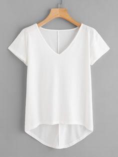 Best 11 Shop Solid Dip Hem T-shirt online. SheIn offers Solid Dip Hem T-shirt & more to fit your fashionable needs. Plus Size Shirt Dress, Plus Size Shirts, Combo Dress, Hooded Dress, Latest T Shirt, Black Fabric, V Neck Tee, Capsule Wardrobe, Fashion Outfits