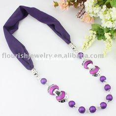 beads pendant scarf ,jewellery scarf ,jewelry scarf