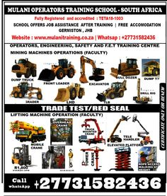 Welding & Cutting Torch  ARC WELDING , ARGONY WELDING , FLUX-CORE WELDING, DOUBLE COREDED WELDING , GAS WELDING ,GAS CUTTING ,BOILER MAKING 5-8 WEEKS ,PIPE FITTING, PANEL BEATING 3 MONTHS Using Power Tools R300 1 Weeks R3 000 Drilling Mach, Griding Machine Bending Machine R300 2 Week R4 000 Comressor Spraying R300 2Week R3 000