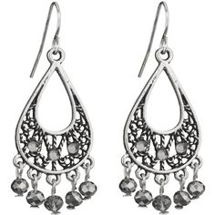 maurices Teardrop Earrings With Shimmering Drop Beads ($11) ❤ liked on Polyvore featuring jewelry, earrings, grey, beads jewellery, beaded jewelry, rhinestone earrings, beaded earrings and rhinestone jewelry