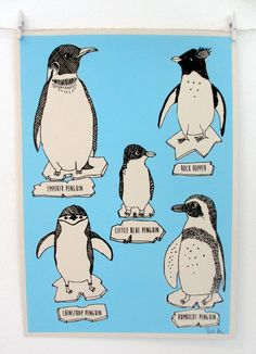 Handmade item Materials: paper, recycled, ink Ships worldwide from Bristol, United Kingdom Favorited by: 15 people Boodles, Penguin S, Ink Illustrations, Screen Printing, Recycling, Handmade Items, Snoopy, Rock, Art Prints