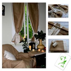 Oryginal natural ecru curtains. Decorated with jute. Beautiful window decoration. Perfect for rustic, vintage, chabby chic and cottage  interior. Made of natural cotton blend fabric with linen and elana