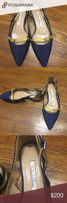 Oscar De LA Renta Flats ( sz 37 1/2) Oscar de la Renta women's flat shoes. Color block Blue, yellow and metallic silver leather. Worn only a few times. Fit true to size Oscar de la Renta Shoes Flats & Loafers