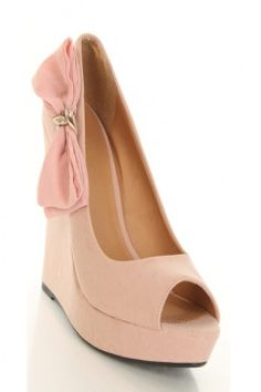 0ae4fa53c805 Blush Nubuck Faux Leather Over-sized Bow Peep Toe Platform Wedges   Sexy  Clubwear