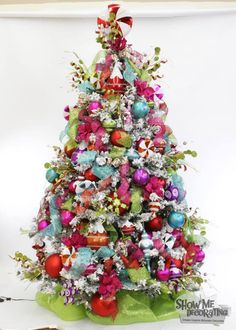 Christmas Trees-Teen Tree with funky colors on a #white#tree ...