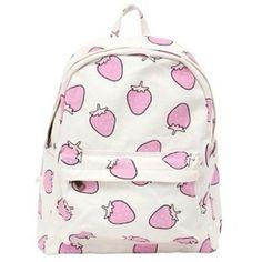 Bag: cute pink white backpack cool strawberry kawaii kawaii