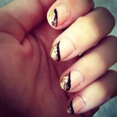 Nails - black and gold