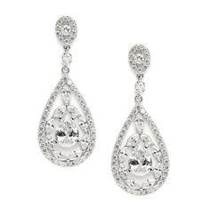 Cubic Zirconia Mosaic Teardrop Bridal, Prom or Wedding Earrings $53.95 www.nuptialsboutique.com #bride #brides #wedding #weddings #weddingjewelry #jewelry #bridal jewelry #bridesmaidsgifts #earrings #silver #diamond