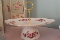 Vintage cake stand 1 tier cake stand jewellery stand pink