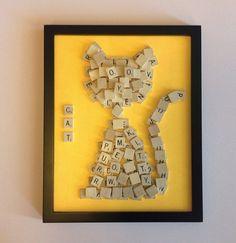 Scrabble Wall Art  11x14 framed Scrabble Cat Art  by MindPawed, $40.00