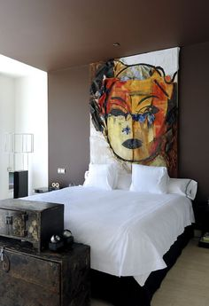 Art as headboard.