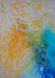 Abstract original painting. blues yellows by BryanAnthonyStudio, $199.00