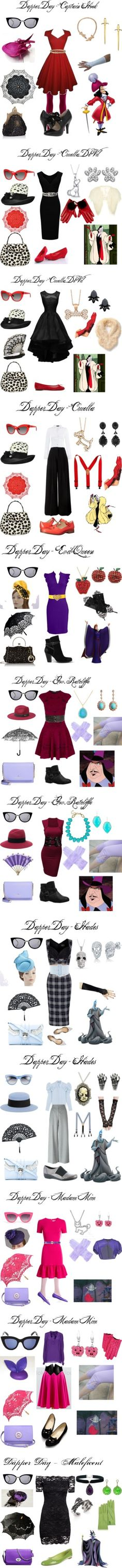 Dapper Day - Villains by owlqween on Polyvore featuring disneybound, villains, dapperday, Villainbound, HotSquash, A.V. Max, Bernard Delettrez, Fendi, Cultural Intrigue and captainhook