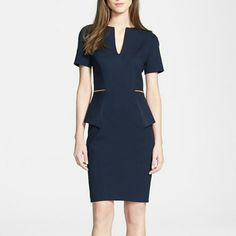 Navy Blue Maddiye Peplum Body-Con Dress A stunning princess-seamed sheath flaunts a peplum flounce crossed by edgy exposed-zipper details at the back. Exposed back-zip closure. Fully lined. 64% viscose, 31% polyamide, 5% elastane with 78% cotton, 20% lyocell, 2% polyurethane side panels. Dry clean or hand wash cold, dry flat. By Ted Baker London; imported. Individualist. NWOT - labels snipped to prevent return. Ted Baker Dresses Midi