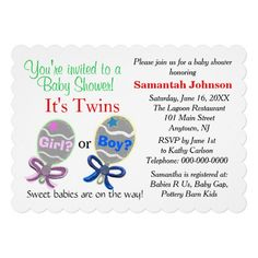"""""""It's Twins"""" Will they be girls or boys?  Elegant Pink and Blue Baby Rattles with the look of 3D beads on the pretty pink and blue beaded bows for the Baby Shower.  PERSONALIZE invitations for free.  Can be edited to delete twins text, etc.   See store for matching accessories.  Graphic Art Hand-Painted Digital design by TamiraZDesigns via:  www.zazzle.com/tamirazdesigns*"""