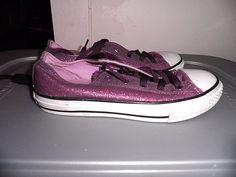 5b9b7de55406 Converse Purple Glitter All Star Low Size Girls Size 2 EUC  Converse   Athletic