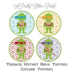 TMNT Cupcake Toppers - Character Cupcake Toppers - Teenage mutant ninja turtles - Party Supplies