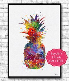 Pineapple Watercolor Art Print Pineapple by ArtsPrint on Etsy
