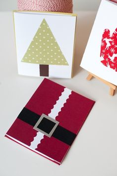 super duper easy Santa, tree, mitten cards Christmas Card Packs, Christmas Paper Crafts, Christmas Cards To Make, Xmas Cards, Diy Cards, Holiday Crafts, Fabric Cards, Childrens Christmas, Christmas Graphics