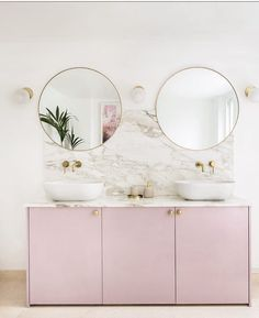 rannie Pink vanity with Big Balls handles in solid brass in this dreamy bathroom created by We love it Ikea Cupboards, Kitchen Cabinets In Bathroom, Bathroom Basin, Ikea Hack Bathroom, Bathroom Ideas, Ikea Hack Vanity, Bathroom Designs, Bathroom Remodeling, Bathroom Inspiration