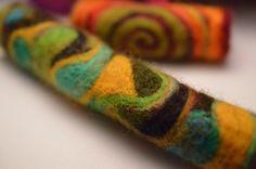 Earth dances beneath our feet - Long Felt Art bead, Needle felted sleeve, tube, wrap, bead for dreadlock, dread, dreadlocks on Etsy, £18.40