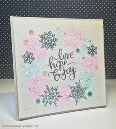Love Hope Enjoy #handmade card. Used #SSSFAVE Lots of Snowflakes and #SSSFAVE Big Scripty Greetings Holiday stamp sets.