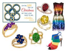 """""""On the fifth day of Christmas it´s rainbow Xmas"""" by linaila-stor on Polyvore featuring Lord & Taylor, Carelle, Allurez, Alice + Olivia and Aquazzura"""