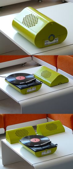 Beautiful! 1970's Schneider record player (green mod turn table), let's me think of my See-trough Schneider...