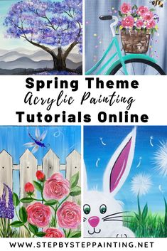 Spring Painting Tutorials - Step By Step Painting Canvas Painting Tutorials, Acrylic Painting For Beginners, Acrylic Painting Lessons, Step By Step Painting, Diy Canvas Art, Beginner Painting, Diy Painting, Acrylic Painting Inspiration, Easter Paintings