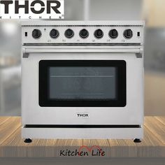 """36"""" Thor Kitchen 6 Burner Gas Range Stove Oven 6.0 Cu.ft Stainless Steel Baking · $2,499.00 Stove Oven, Gas Stove, Electric Oven, General Electric, Retro Vintage, Double Ovens, Kitchen Appliances, Range, Thor"""