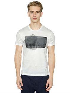 EMPORIO ARMANI IDENTITY PRINTED COTTON JERSEY T-SHIRT, WHITE. #emporioarmani #cloth #t-shirts