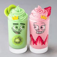 Cosmo and Wanda Smoothies - in 2020 Dessert Drinks, Fun Drinks, Yummy Drinks, Delicious Desserts, Yummy Food, Smoothie Vert, Smoothie Bowl, Korean Food Recipes, Kreative Desserts