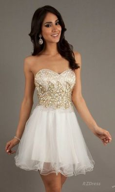 2 Piece Ball Gown Homecoming Dresses With Gold Beaded Straps Tulle ...