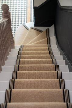 How to achieve your perfect stair runner - The Frugality Staircase Runner, Runners For Stairs, Stairs With Carpet Runner, Best Carpet For Stairs, Striped Carpet Stairs, Stair Railing, Narrow Hallway Decorating, Decorating Stairs, Victorian Hallway