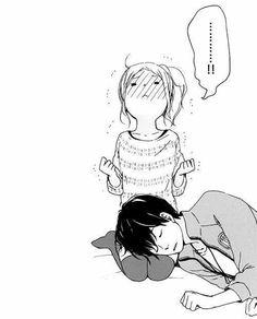 sleep couple knees cute anime