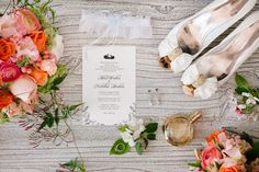 Beautiful bridal flat lay using shoes, perfume, and flowers                                                                                                                                                                                 More