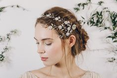 Bohemian silver crystal wedding hair vine headband