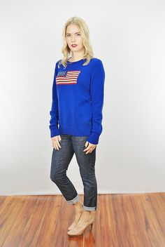 Vtg 90s Blue Ralph Lauren Skinny Knit Cotton American Flag Sweater Jumper Top M | eBay