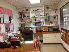 Counselor office School Counseling Office, School Counselor, Waiting Area, School Decorations, Learning Spaces, Social Work, Corner Desk, Room, Office Spaces