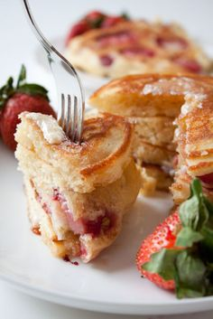 Strawberry Banana Pancakes    These two fruits not only bring bright, sweet flavor to the vanilla batter, but they add moisture, too, making the pancakes as tender as they are pretty.