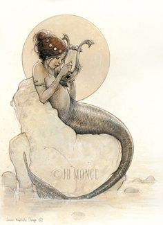 Mermaid playing music. From Celtic Faeries by Jean-Baptiste Monge, published by Au Bord Des Continents, 2007. Monge's detailed, beautifully rendered paintings have a textural quality and subdued color palette ideally suited to his portrayal of the denizens of the unseen world at our feet and the edges of our vision.