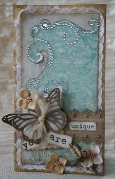 Love this card - turquoise and gems !