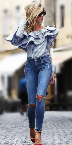 One shoulder flounce trim striped blouse pretty outfits, fall outfits, casual outfits, cute Mode Outfits, Fall Outfits, Casual Outfits, Summer Outfits, Fashion Outfits, Womens Fashion, Fashion Trends, Jean Outfits, Striped Outfits