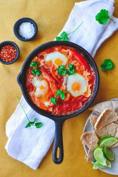 Shakshuka is a delicious vegetarian baked egg dish with peppers, cumin and chilli, popular in North Africa and the Middle East. Shakshuka is traditionally eaten for breakfast or brunch (great when … Breakfast Items, Breakfast For Dinner, Best Breakfast, Breakfast Options, Lebanese Recipes, Portuguese Recipes, Brunch Recipes, Dinner Recipes, Vegetarian Bake