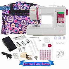 Janome DC5100 Computerized Sewing Machine with Bonus Bundle. Bonus Bundle Includes:Purple Tote [color may vary], Pack of 25 Janome Cherry Blossom Bobbbins. The Janome DC5100 computerized sewing machine has the features you want, the features you need. Complete any project with ease: home decor, garment sewing, scrapbooking, or quilting. 167 built in stitches, including 5 automatic one step buttonholes, locking stitch button, memory for up to 50 patterns, backlit LCD touchscreen with…
