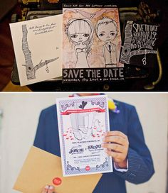 Super creative + personal invitations! Kelli Murray drew a cute illustration of her + her hubby for their wedding. I also love the oversized invitations designed by Carolyn Ramos for this wedding photographed by Our Labor of Love.
