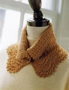Crochet Neckwarmer or Cowl with collar. Full crochet pattern
