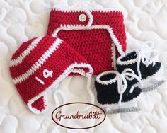 BABY HOCKEY BOYS Hat Diaper Cover and Skates Red & by Grandmabilt