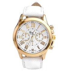 JS Direct Uhren,Elegant Damen Candy Römisch Ziffern Chronograph Armbanduhr,Kunstleder Band Analog Qaurzuhr(Weiss)