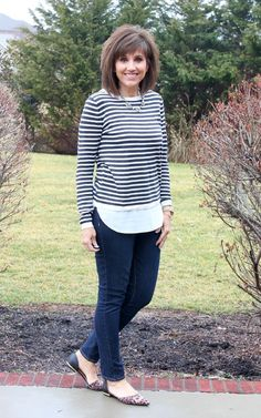 Stripes with a white shirt underneath.  28 Days of Spring Fashion (Day 9)